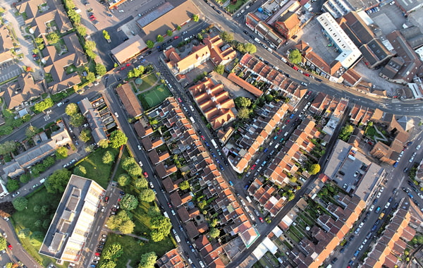 Aerial view of streets and houses in Bristol