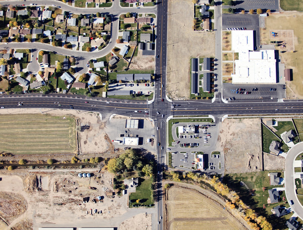 Traffic Intersection in a modern subdivision